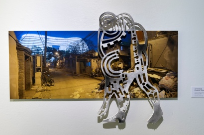 TITLE OF ARTWORK: Industrial feelings, Beijing - Chaoyangmen Soho hutong, 2018 TECH.: photo 150x61 cm, pigment print on Dibond board with mixed media on mdf relief